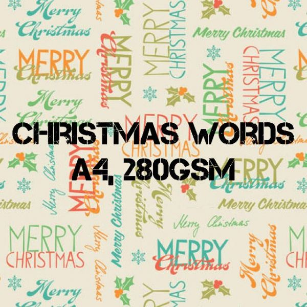 Payper Box A4 Printed Card Christmas Words - 10 Sheets